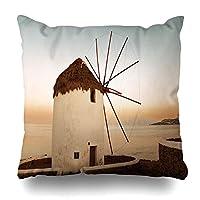 投げる枕カバー風車で有名なミコノス島ギリシャエーゲ海のミコノス市都市の景観目的地ヨーロッパギリシャのデザインジッパー枕カバースクエアサイズ家の装飾枕カバー 18×18インチ