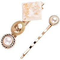 Reiko Palace Pearl Gold 2 Pcs Bobby Pins Fashion Chic Hair Clip Barrette Snap On Slide Clips Headwear for Women Girl
