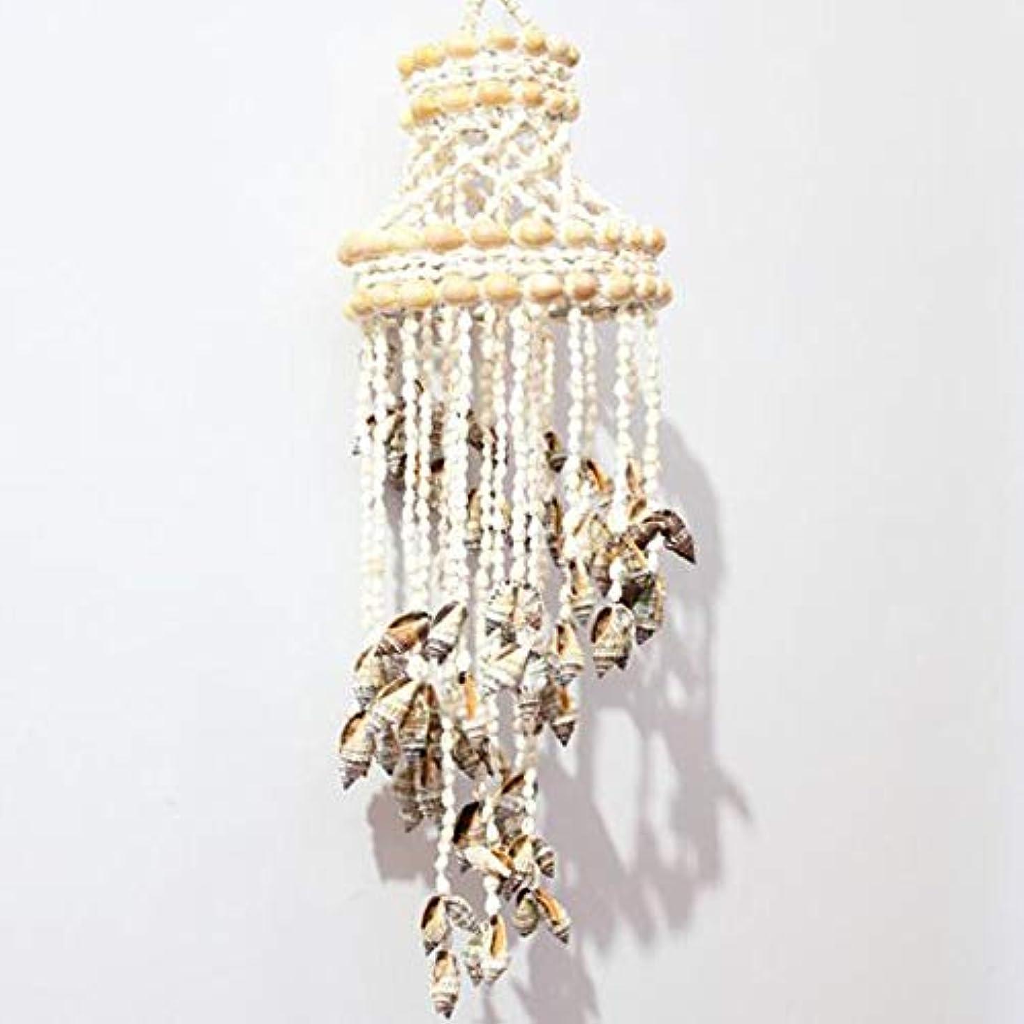 情熱的体操ここにKaiyitong01 風チャイム、ナチュラル手作りシェル風の鐘、ホワイト、約長さ50cm,絶妙なファッション (Color : C)