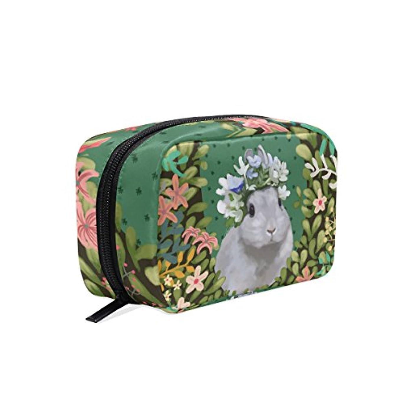 バララ (La Rose) 化粧ポーチ メイク 洗面用具入れ 大容量 軽量 おしゃれ 多機能 かわいい ウサギ 兎柄 花柄 コスメポーチ 小物入れ 収納バッグ 女性 雑貨 プレゼント