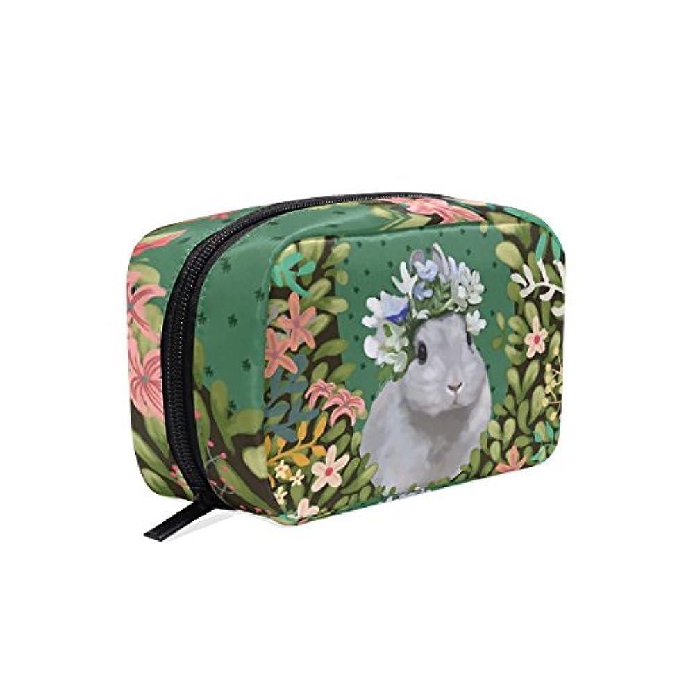 マナー閉塞カメバララ (La Rose) 化粧ポーチ メイク 洗面用具入れ 大容量 軽量 おしゃれ 多機能 かわいい ウサギ 兎柄 花柄 コスメポーチ 小物入れ 収納バッグ 女性 雑貨 プレゼント