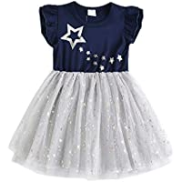 DXTON Little Girl Children Kid Long Sleeve Flower Cotton Dresses for 2-8T