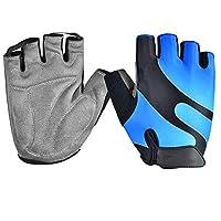 GOLDT1 アウトドアスポーツハーフフィンガーグローブ男性女性ジムフィットネスウェイトリフティングワークアウトジョギングランニングトレーニングフィンガレス(ペア)、プレミアムウェイトリフティンググローブ、ローインググローブ、バイキンググローブ、トレーニンググローブ、グリップグローブ (Color : Blue, Size : L)