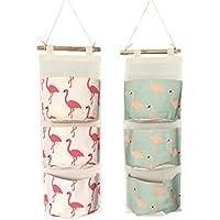 lewu ウォールポケット 壁掛け式 3ポケット 収納袋 ポーチ バッグ レターラック 2枚入れ (フラミンゴ(ピンク+ブルー))