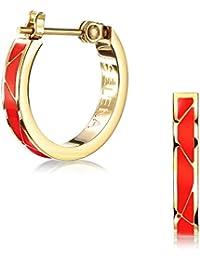 (Selena Jewelry) クロッシング ライン フープピアス イエローゴールド コーティング Red Orange レッドオレンジ ((A.)スタンダードパッケージ)