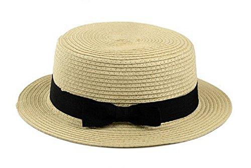 レディース ミックスペーパー ハット カンカン帽 春 夏 麦わら帽子 通気性 UVカット 帽子 ストローハット 軽い (クリーム)