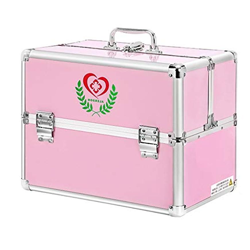 シンクパパ手綱薬箱アルミ合金24 * 16.5 * 17 cm / 30 * 21.7 * 24 cm家庭用薬箱薬外来応急処置医療箱収納ボックス (色 : ピンク, サイズ さいず : L24CM)
