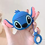 Lalakaka Compatible with Airpods 1/2 Cute Case,Cartoon Character Silicone Animal Airpod Designer Skin Kawaii Funny Fun Cool Ring Design Cover Kids Teens Air pods Cases for Girls Boys(Ear Blue Stitch