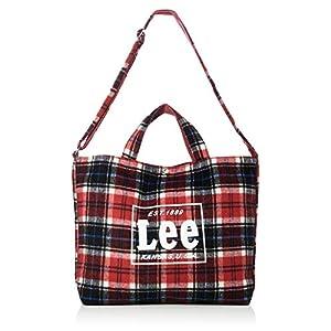 [リー]ショルダーバッグ Lee タータンチェック柄 2WAYトートバッグ L レッド