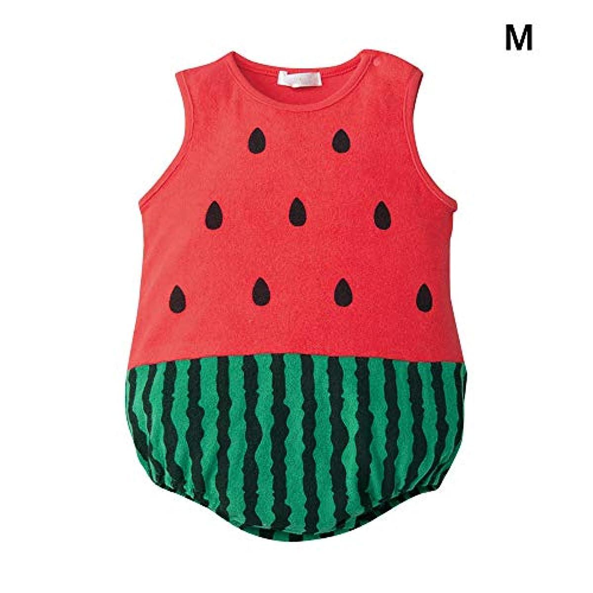 底筋抵抗BELUPAI 可愛い ロンパース カバーオール ベビー服 ノースリーブ コスチューム 肌着パジャマ 着替え便利 柔らかい 100%コットン スイカ 出産祝い プレゼント