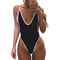FITTOO Women Monokini Retro Thong One Piece Swimsuit Deep V High Cut Sexy Trikini Cheeky Backless