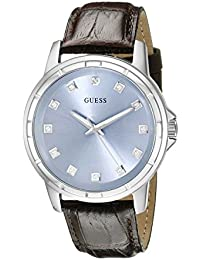 GUESS Men's U0519G2 Classic Stainless Steel Watch with Ice Blue Diamond Dial & Brown Croco-Like Genuine Leather Strap