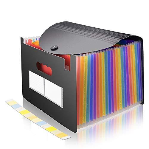 SIXR-JP ファイル ケース 書類ケース A4 ファイルボックス 大容量 伸縮 防水 耐用 取っ手穴 ラベル付き 家庭用 オフィス 学校に適し