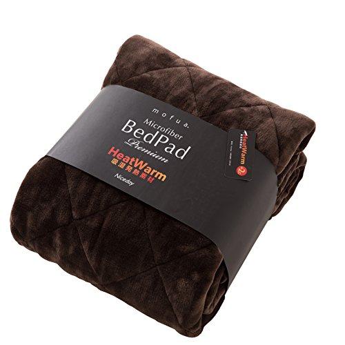 mofua(モフア)敷パッド プレミアムマイクロファイバー Heatwarm発熱 +2℃ タイプ 1年間品質保証 シングル ブラウン 60110106