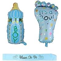 Blesiya 3セット入り 哺乳瓶型 フットプリント型 ベビーシャワー 出産祝い パーティー用 洗礼式用 男の子 サッシュ バルーン