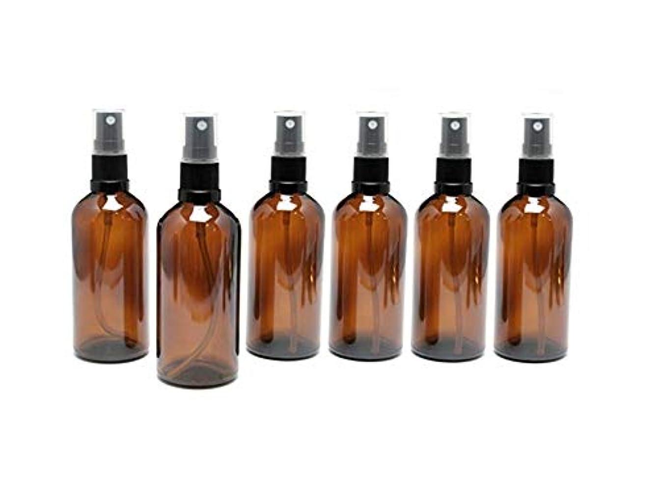 遮光瓶 スプレーボトル 100ml アンバー/ブラックヘッド(グラス/アトマイザー) 【新品アウトレット商品 】 (2) 6本セット