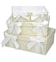 収納ボックス 3点セット 小物入れ パールホワイトローズ リボン(薔薇 バラ おしゃれ 3個セット
