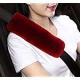 Dotesy 2pcs Auto Seatbelt Shoulder Pads,Soft Australian Sheepskin Wool Car Seat Belt Cover Backpack Strap Cushion for Adults Youth Baby Kids Car Truck SUV Airplane Travel(Red)
