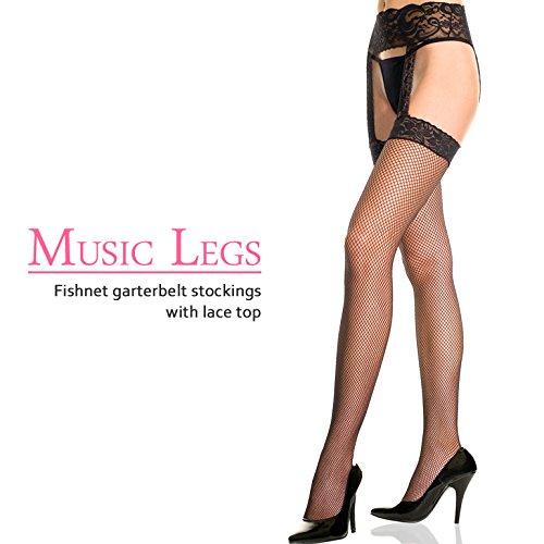 『MUSIC LEGS センター ガーターベルト 一体型レーストップ フィッシュネットストッキング』の2枚目の画像