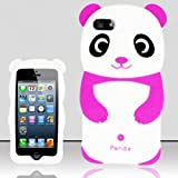 For iPhone 5 (AT&T/Sprint/Verizon/Cricket) 3D Panda Bear Silicon Case - Purple SCPB3D