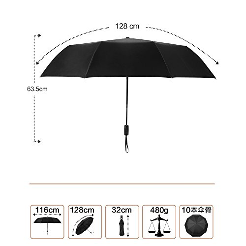 VACNITE 折りたたみ傘 耐強風 メンズ 大きい ワンタッチ自動開閉 折り畳み傘 128cm 10骨 晴雨兼用 高強度
