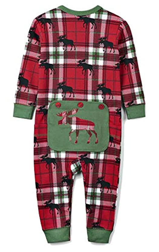 フリル風景スカリーHatley ハットレイ パジャマ、赤いチェックとムースシルエットでおしゃれ 80~85cm、12M-18M(79-84cm) US0WIMO209