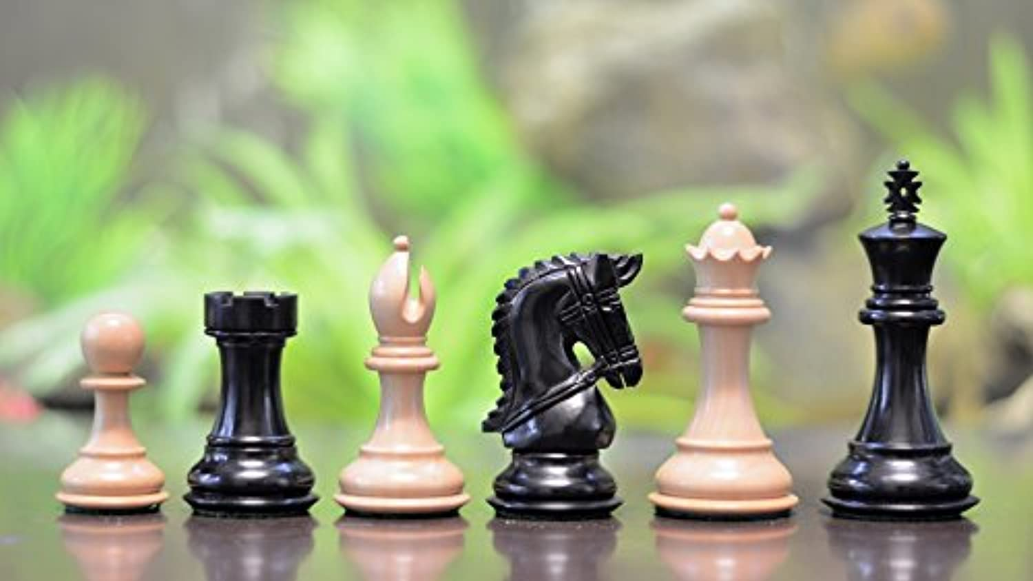 Chessbazaar The Staunton Series Wooden Coins Chess Pieces In Ebony & Box Wood