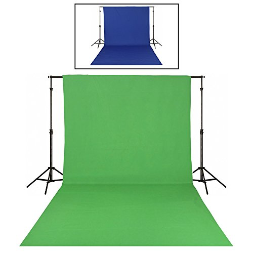 撮影 背景布 両色兼用 無反射 透かず厚地 シワ対応 バックスクリーン 写真撮影 写真スタジオ 全身撮影用 綿 洗濯可 (緑&青(2m*2m))