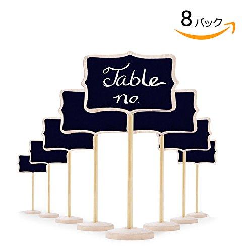 8pcs ミニ黒板 席札 木製 再利用可能 結婚式 メモ用 萌え 可愛い 立て式 お店の装飾などにも