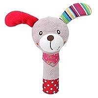 Creacom ベビー ハンドベル ハンドおもちゃ ぬいぐるみ 子供 幼児 動物音楽ラトルおもちゃ ベビーハンドベル かわいい 柔らかい 聴覚・視覚を促進し おもちゃ 良い 贈り物 プレゼント 6色 (子犬)