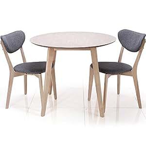 ダイニングテーブル セット 3点セット 2人掛け 丸テーブル 幅90cm ホワイト×グレー