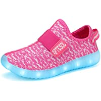 APTESOL Kids LED Light Up Shoes Unisex Girls Boys Breathable Flashing Sneakers for Toddler/Littler Kid/Big Kid