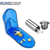 RunsDeepピルカッター 錠剤カッター 防水ピルケース 携帯 薬ケース 青