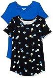 Amazon Essentials (アマゾン エッセンシャルズ) レディース Tシャツ AE18113162, ブラック グラフィック つぼみ/コバルト, L〈日本サイズ2XL相当〉