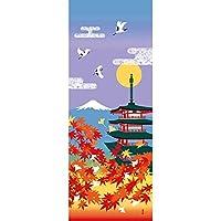 濱文様 絵てぬぐい 紅葉 五重塔 富士山