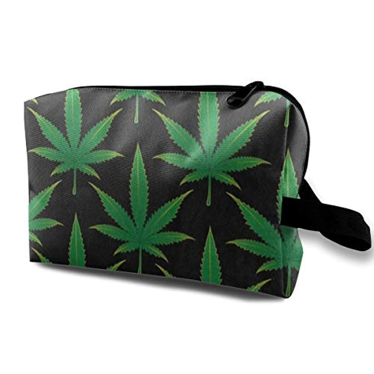 言い訳臭い薄い大麻マリファナの葉 ポーチ 旅行 化粧ポーチ 防水 収納ポーチ コスメポーチ 軽量 トラベルポーチ25cm×16cm×12cm