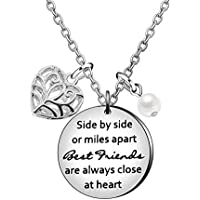 Best Friend Pendant Necklace Birthday Graduation Friendship Gifts - Side by Side Or Miles Apart Best Friend are Close at Heart