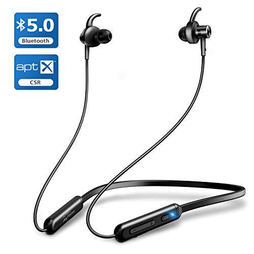 2019進化版 Bluetooth5.0  APT-XコーデックBluetooth イヤホン スポーツ Hi-Fi 高音質 ワイヤレスイヤホン 12時間連続再生 AAC8.0/CVC8.0ノイズキャンセリング対応 ブルートゥース イヤホン IPX6防水 Siri対応 Bluetooth ヘッドホン iPhone/iPad/Android対応 (ブラック)