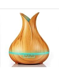 400ml ウッドグレインアロマセラピーマシン加湿加湿器ディフューザー花瓶花びら調味料自動オフ安全スイッチオフィスファミリーベッドルームスタディヨガスパ,lightwoodgrain