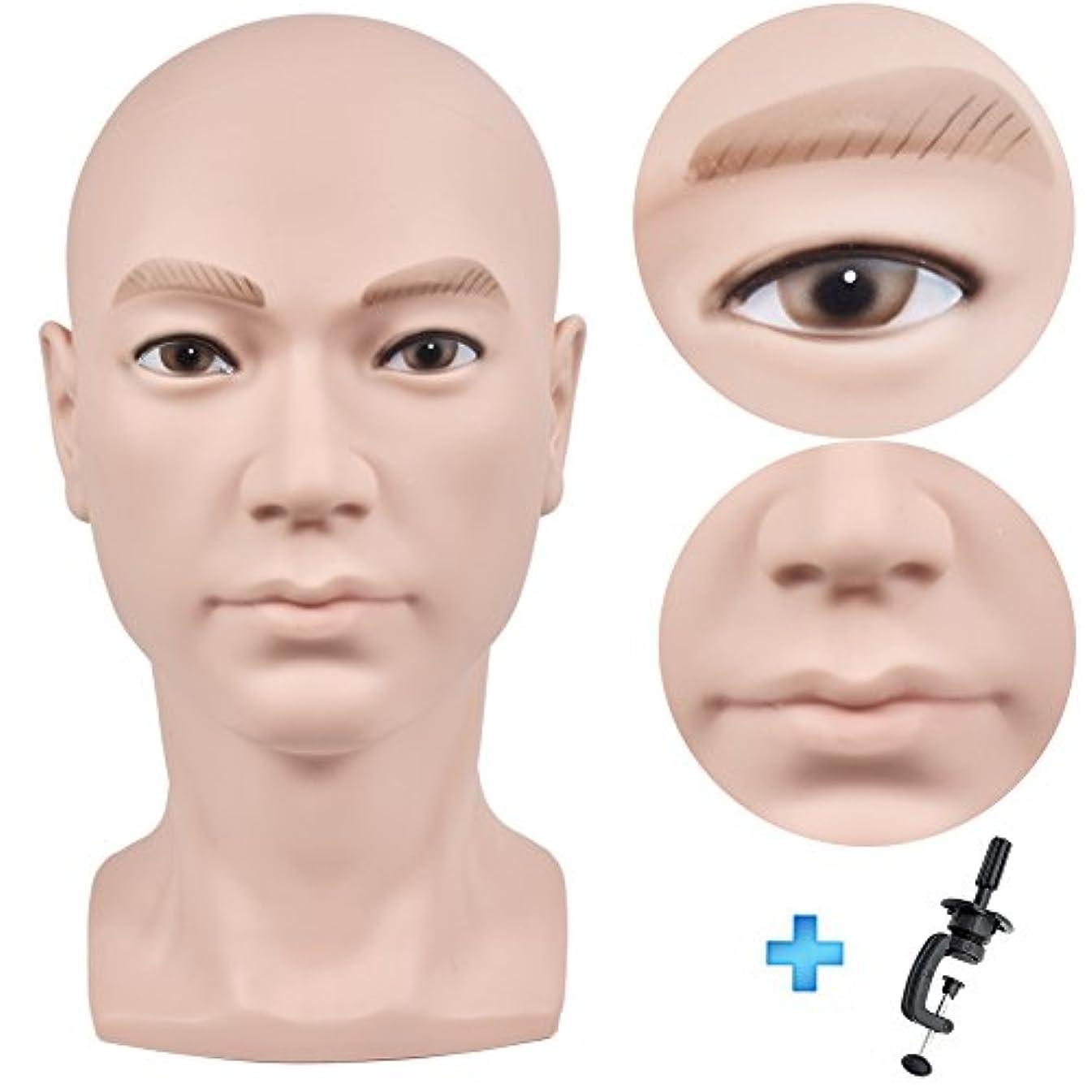 歩道投獄実際の髪のメイク、ディスプレイのかつら、メガネ、髪、Tピン、フリークランプのための禿げたマネキンヘッドベージュ男性プロの化粧品