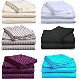 Premium Quality 1000TC Egyptian Cotton Queen or King Size Bed Sheet Set (Stripe). 4 Pieces (Flat, Fitted and 2 Pillow Cases) - New (Queen, Acquamarine)
