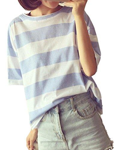 (フムフム) fumu fumu レディースファッション Tシャツ 春 夏 トップス 半袖 ミニマム ボーダー (F04. 水色 XL)