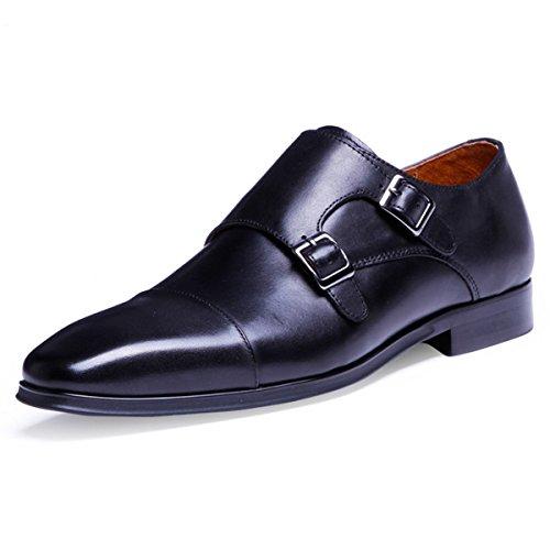 [フォクスセンス] ビジネスシューズ 紳士靴 メンズ 本革 モンクストラップ 革靴 ブラック 26.0CM DS0821