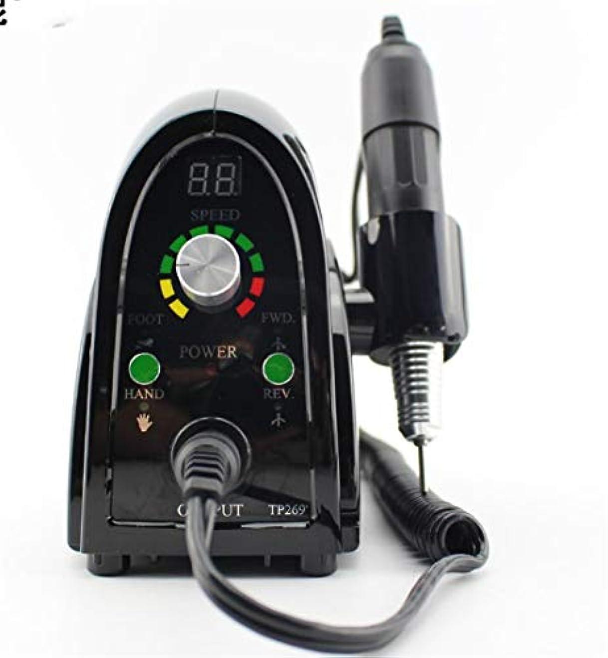 会話区別債権者65W電動ネイルドリルマシン35000 RPMファイルキットビットマニキュアペディキュアキット、LCDディスプレイペディキュアセットジェルポリッシュ除去ツール,黒