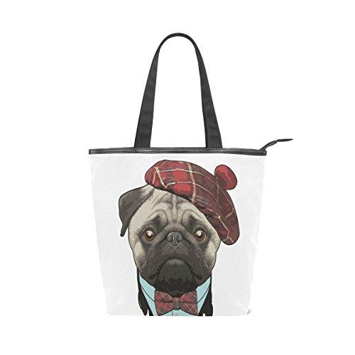 fa129355db77 VAWA トートバッグ キャンバス ハンドバッグ かわいい 犬柄 パグ 大容量 レディース 帆布 ショルダーバッグ 多機能バッグ