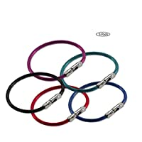 "Lucky Line 5"" Flex-O-Loc Cable Key Ring, Galvanized Steel, Corrosion-Resistant, Assorted Colors, 5 Pack (7110005)"