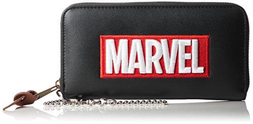 [マーベル] ウォレット 財布 合皮 MARVEL マーベル 刺繍ロゴ レディス メンズ MV-WLT02 ブラック