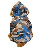 レインコート カッパ 犬服 ペット用品 帽子付き 通気性 防水 雨具 迷彩 ノーブランド品 (Lブルー)