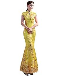 bb094259f1521 (上海物語)Shanghai Story 花柄半袖 マーメイドドレス 中国デザインチャイナドレス!(レディース、女性用) 刺繍 レース ロングマーメイドドレス  中華風 中国…