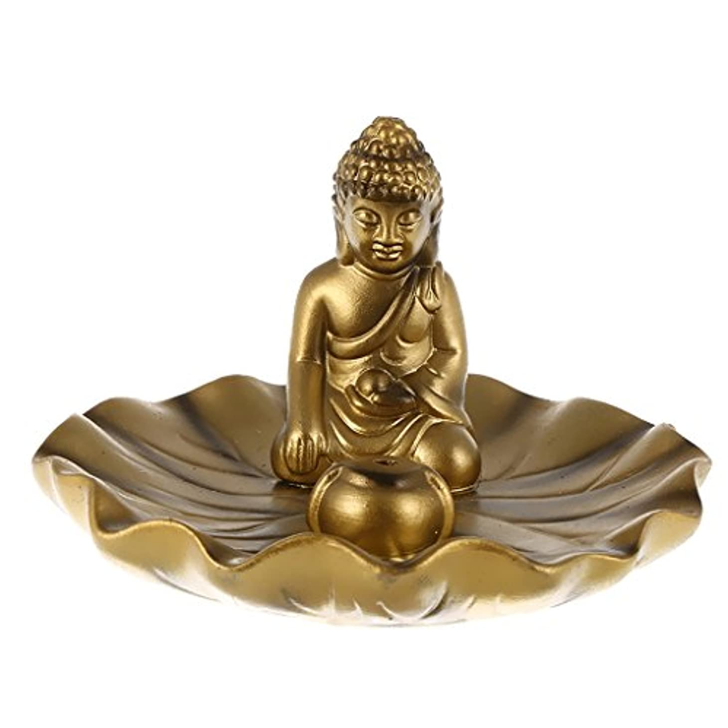 monkeyjackアンティーク中国スタイルMeditating Buddha Statue Incenseお香バーナーホルダーラウンドプレートホーム装飾 12.5x8cm ゴールド 451abb99ca509582d1ac598f12cb379e